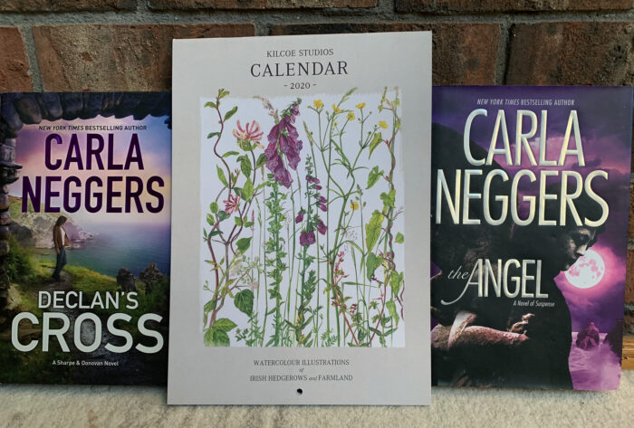a copy of Declan's Cross and The Angel with a 2020 Calendar