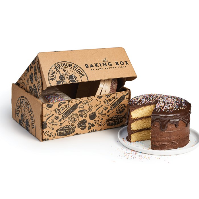 Photo of a King Arthur Flour Baking box and a Chocolate Cake